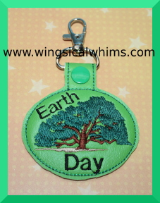 Earth Day Key Chain or Key Fob Machine Embroidery Design