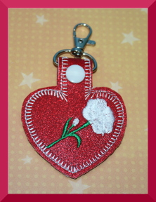 Rose Key Fob Machine Embroidery Design
