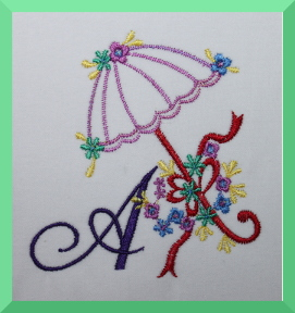 Parasol Alphabet SET Machine Embroidery Design Letters A through Z