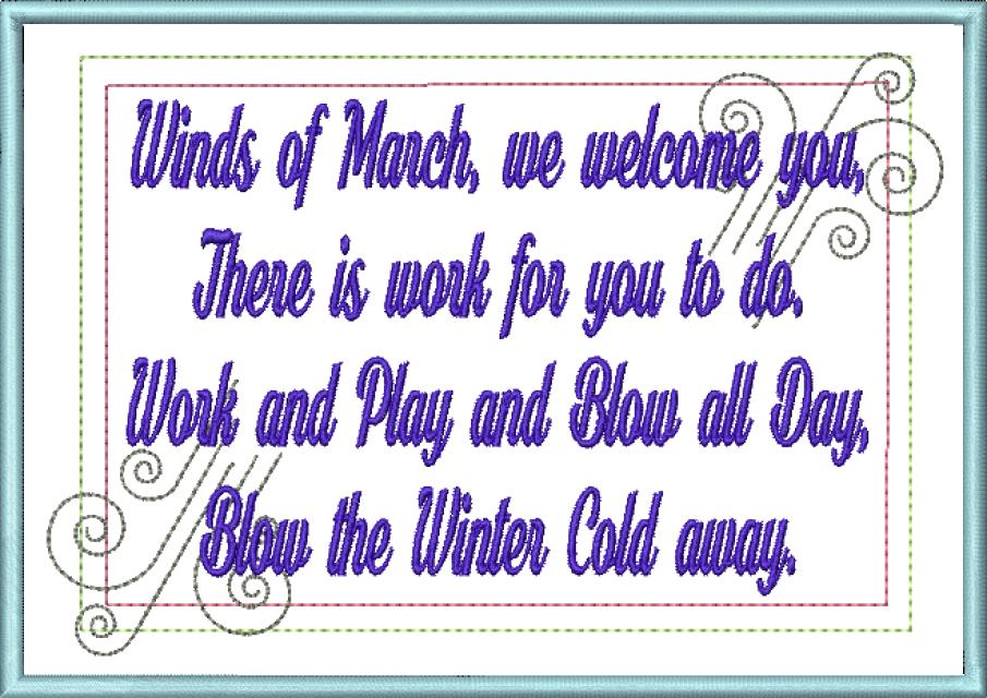 Mug Rug Machine Embroidery Design Wind Poem
