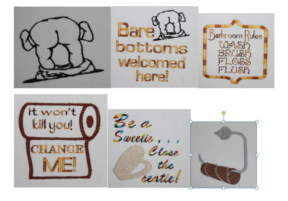 Toilet paper designs set of 6 group 1 for Bathroom embroidery designs