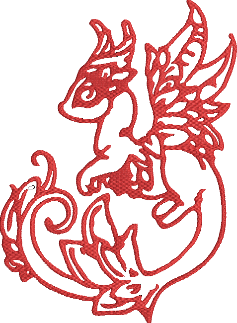 Line Art Embroidery : Dragon line art machine embroidery design red work
