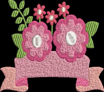 Flower Banner Machine Embroidery Design
