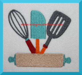 Kitchen Utensils Design Machine Embroidery Design